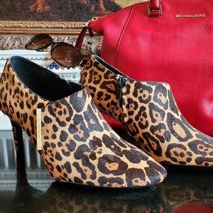 Calvin Klein leopard calf hair ankle boots size 10
